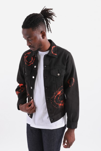 Tie dye trucker jacket Black