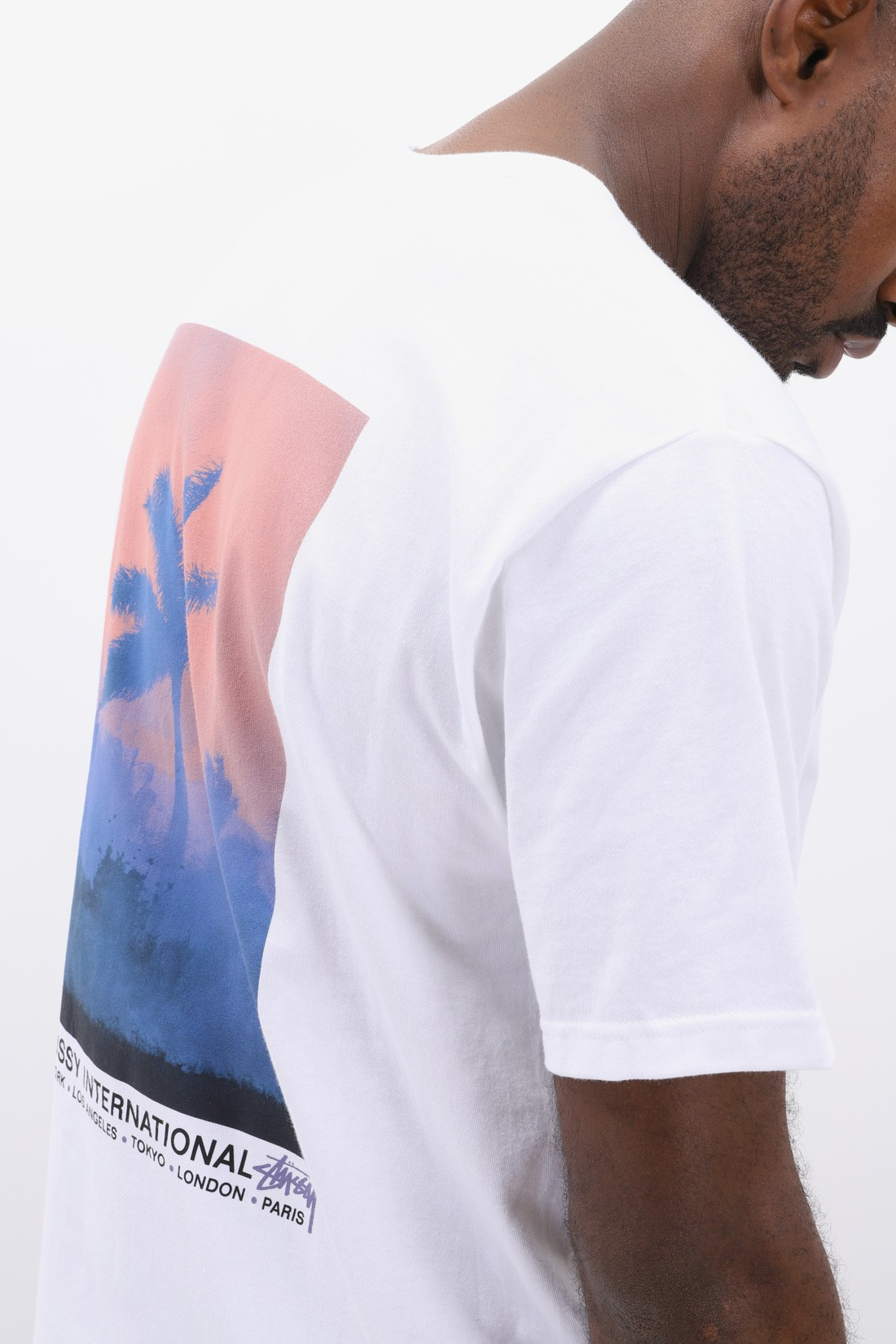 STUSSY / Fire palm tee White