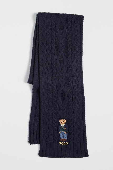 Polo bear aran scarf Navy