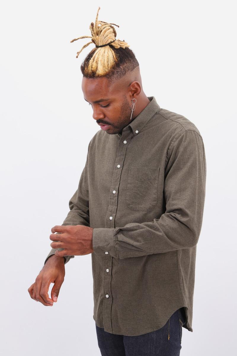 Classic flannel shirt Kaki green
