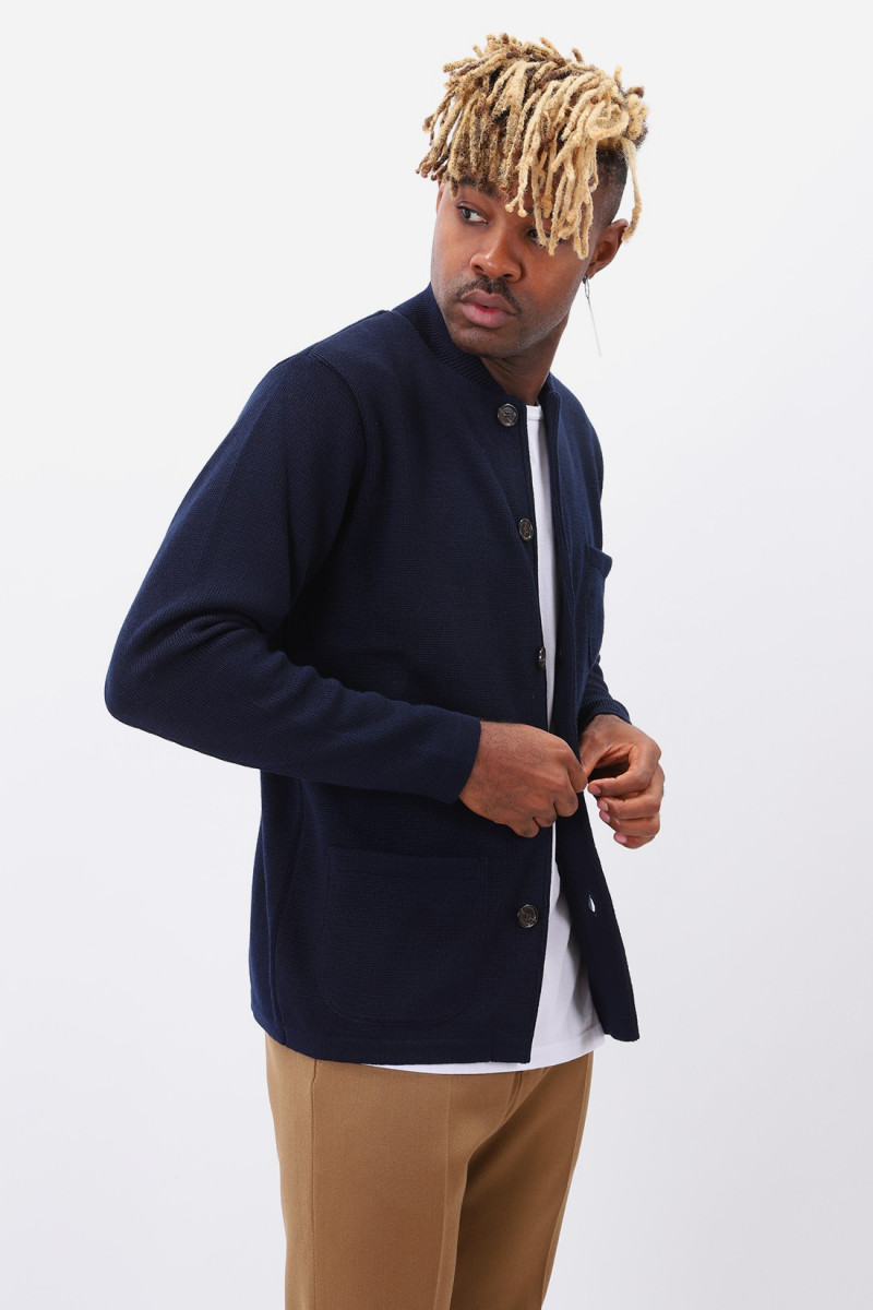 Knit work jacket merino Navy