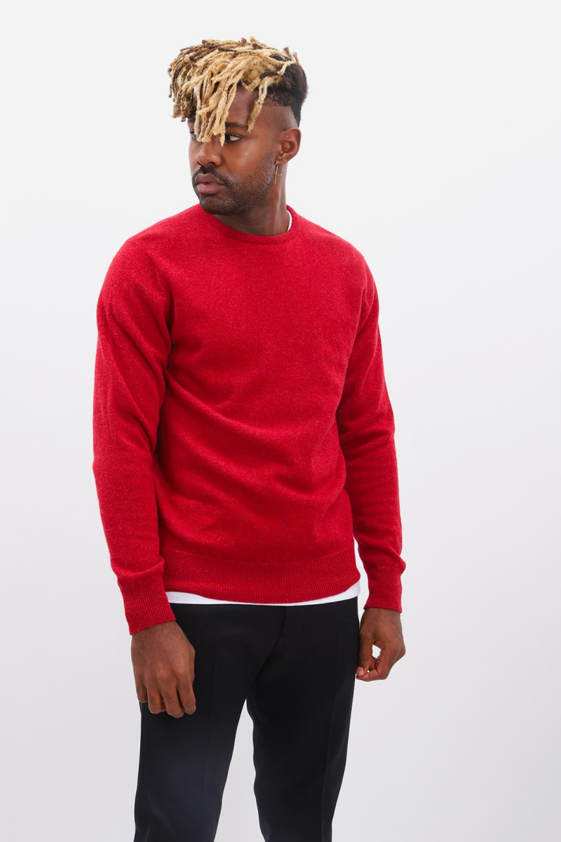 Lambswool jumper crew neck Poppy mel