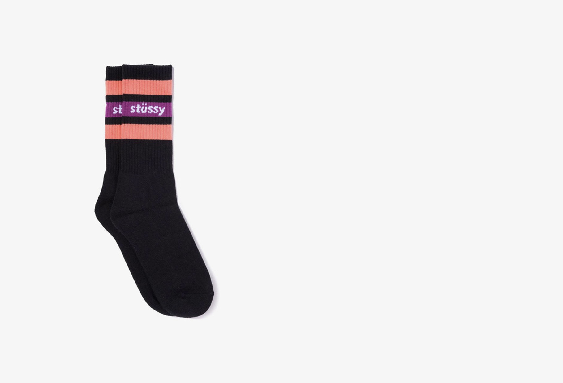 STUSSY / Stripe crew socks Coral black