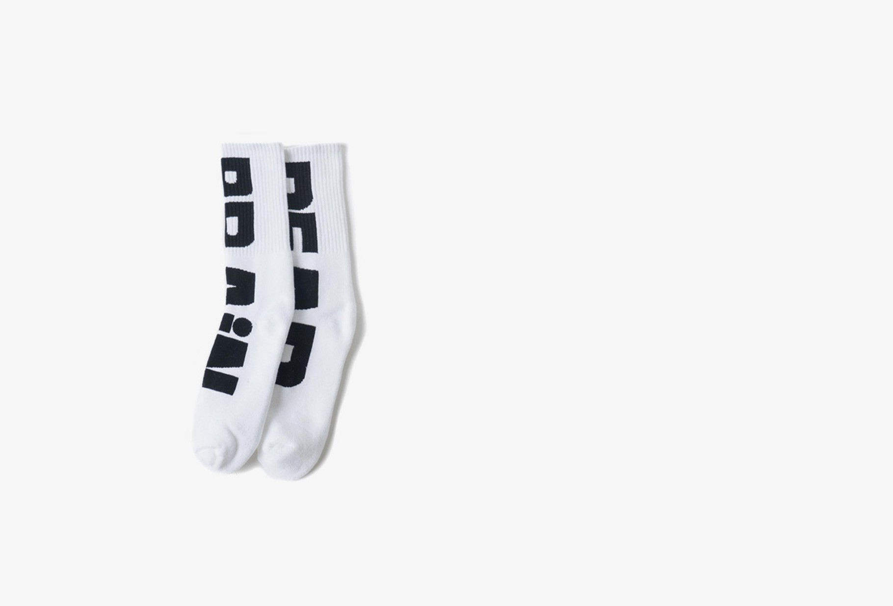 BRAIN DEAD / Logo sock Black/white