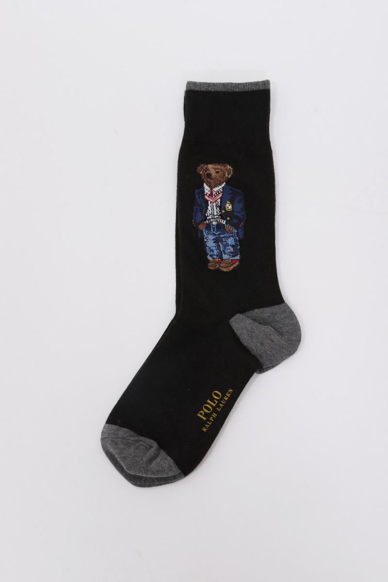 Teddy bear socks crest Black