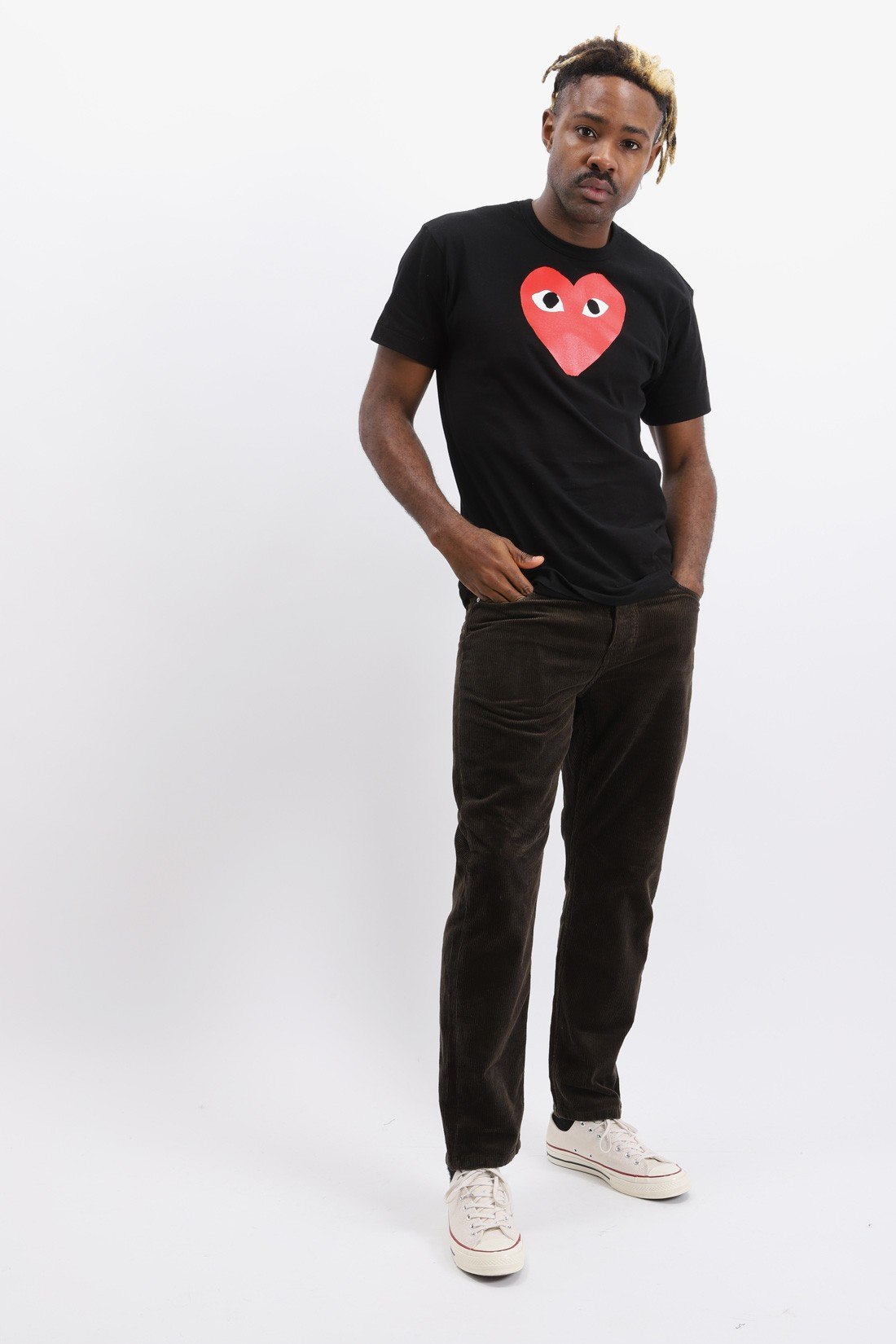 COMME DES GARÇONS PLAY / Red play t-shirt big heart Black