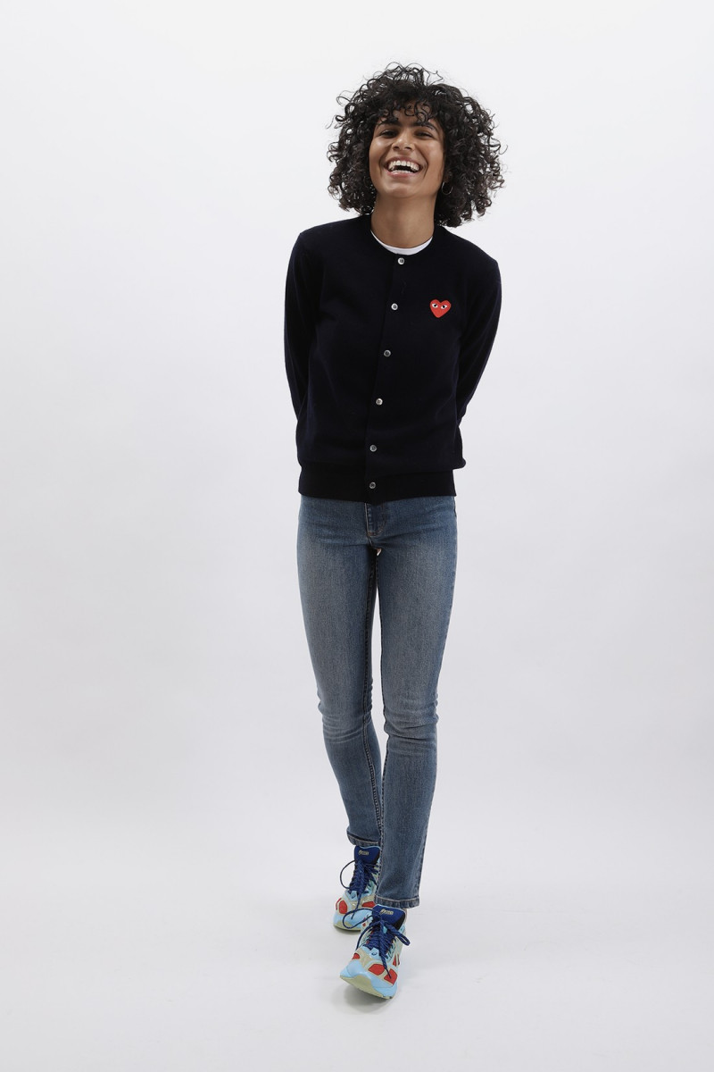 Red play cardigan Navy