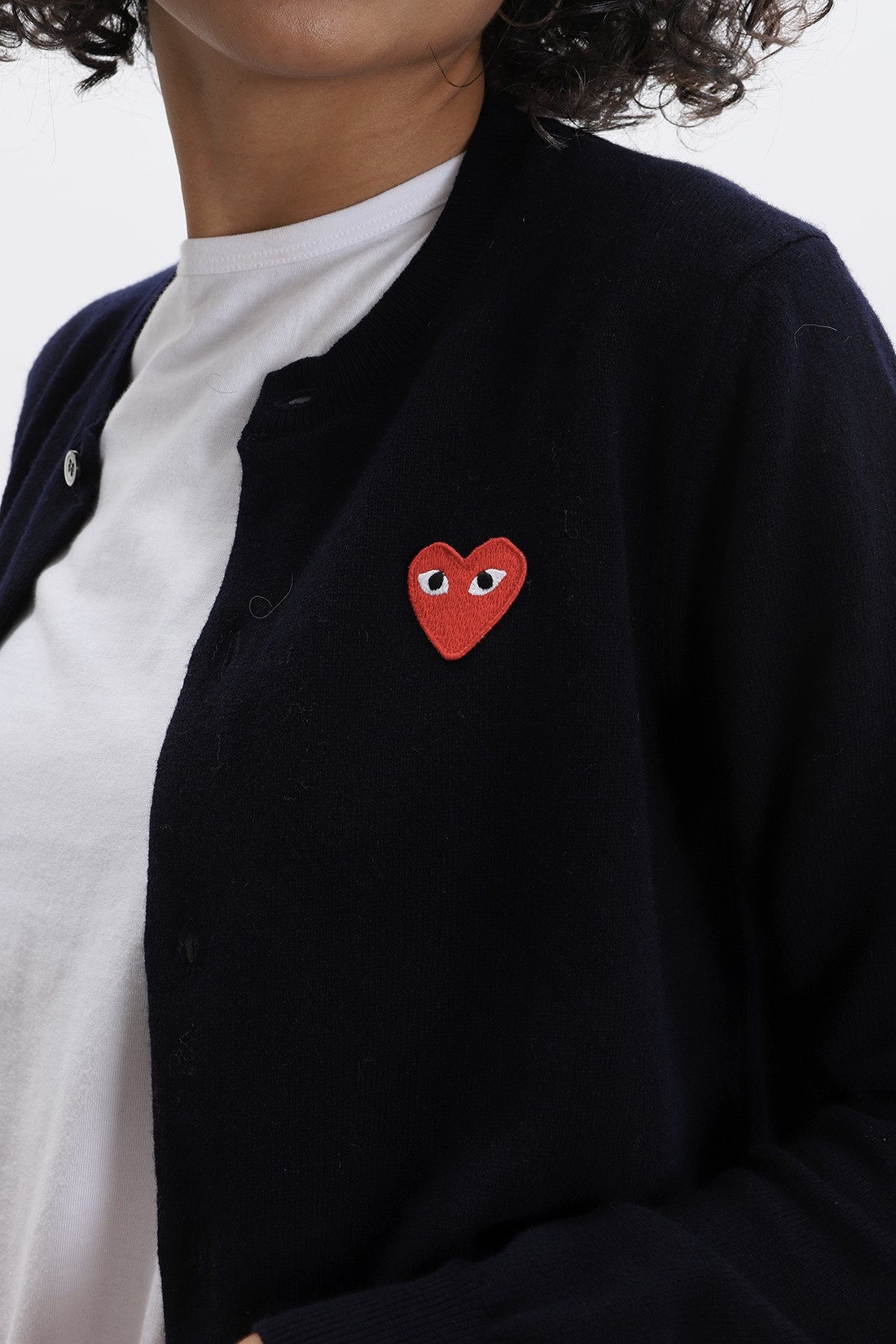 COMME DES GARÇONS PLAY / Red play cardigan Navy