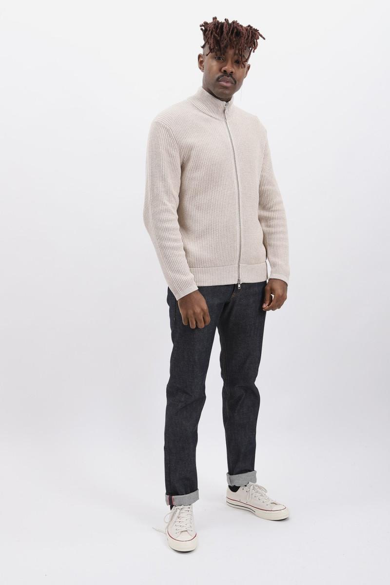 Piet zip knit Light khaki melange