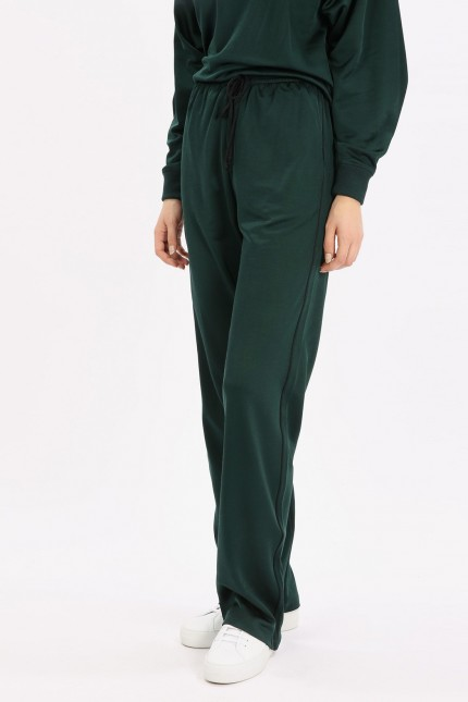 Velvet trimmed cotton jersey Green