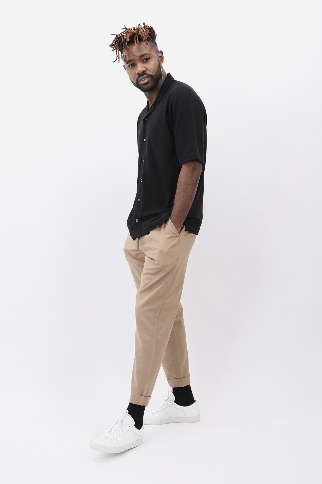 SUNSPEL / Pique camp collar shirt Black