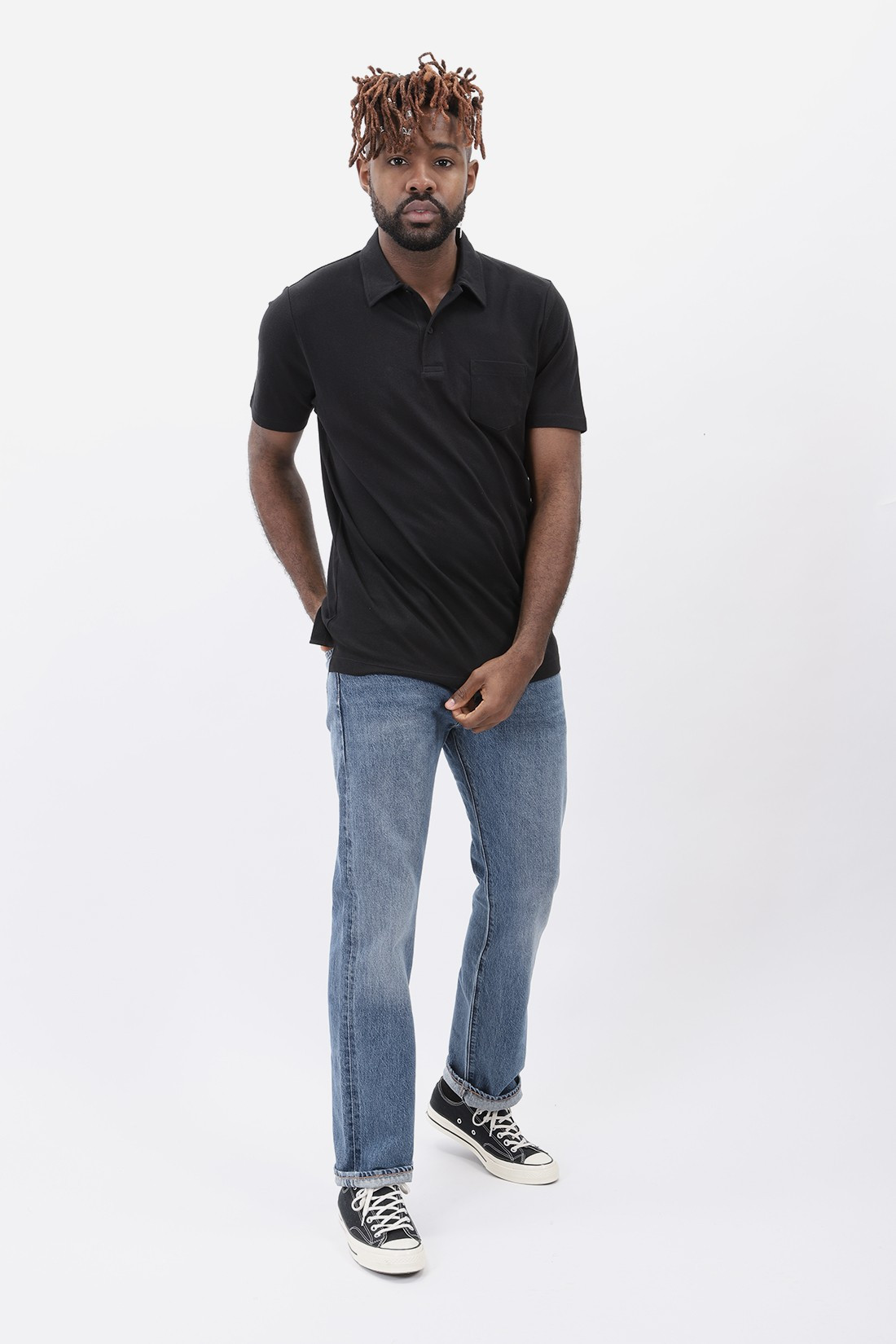 SUNSPEL / Short sleeve riviera polo Black