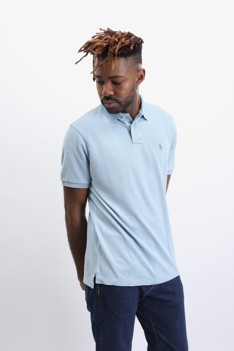 Custom fit classic polo Washed blue