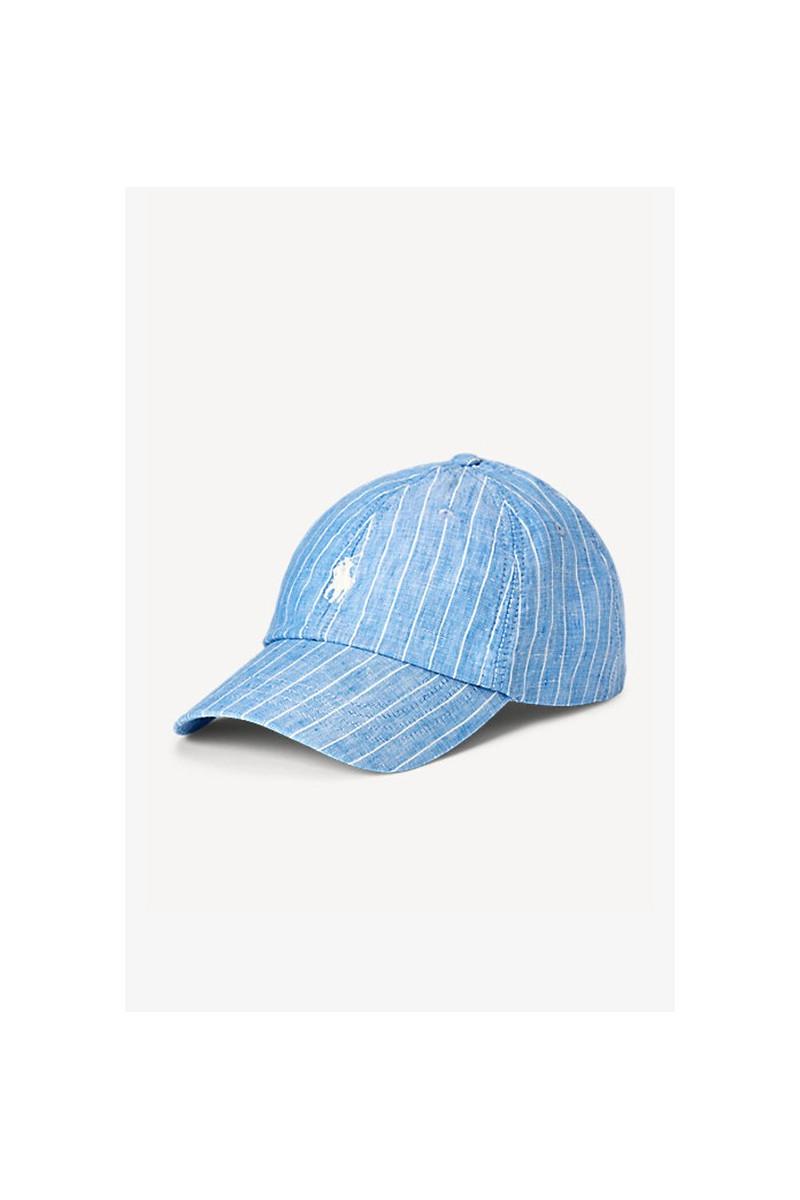 Classic sport linen cap Stripe blue
