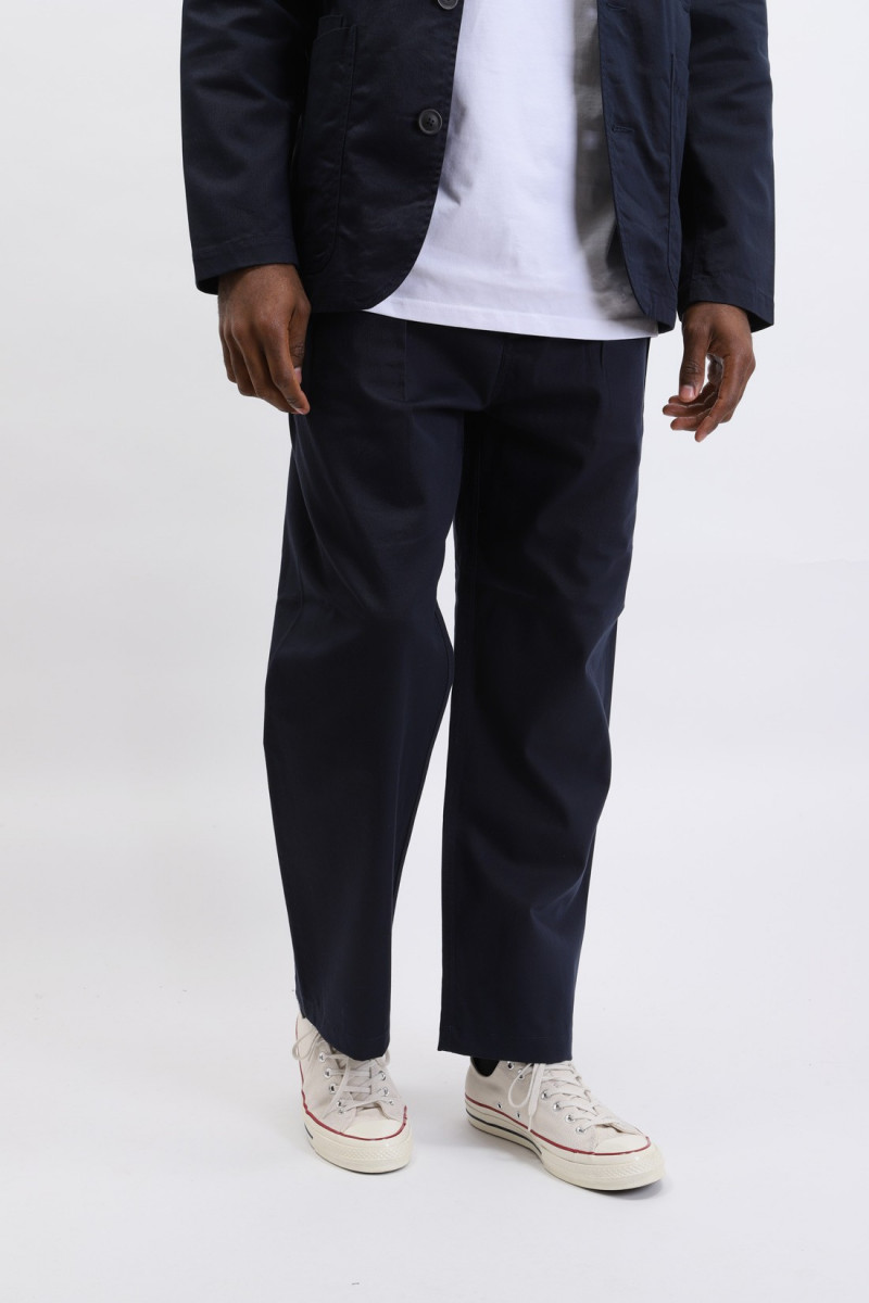 Double pleat pant twill Navy