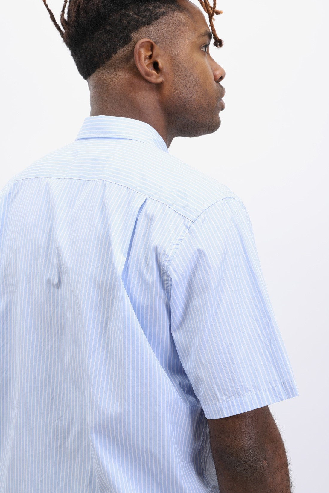 COMME DES GARÇONS PLAY / Black play striped ss shirt Blue