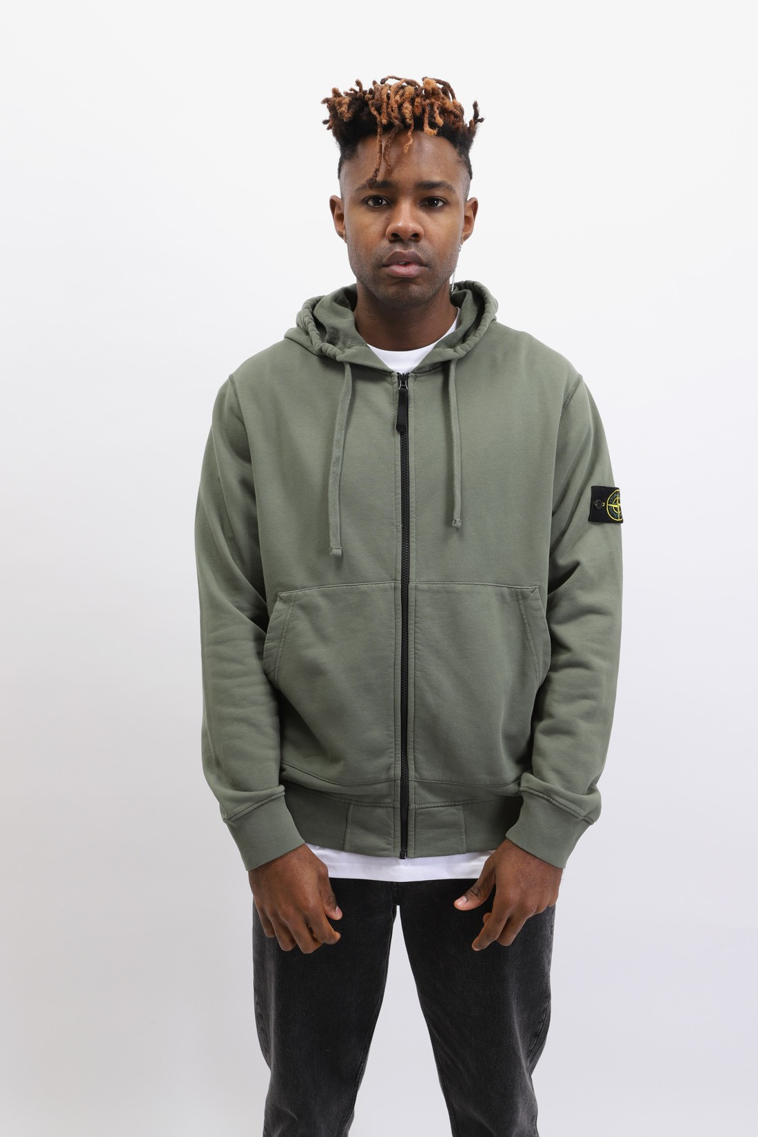 STONE ISLAND / 64251 hooded zip sweater v0058 Verde oliva
