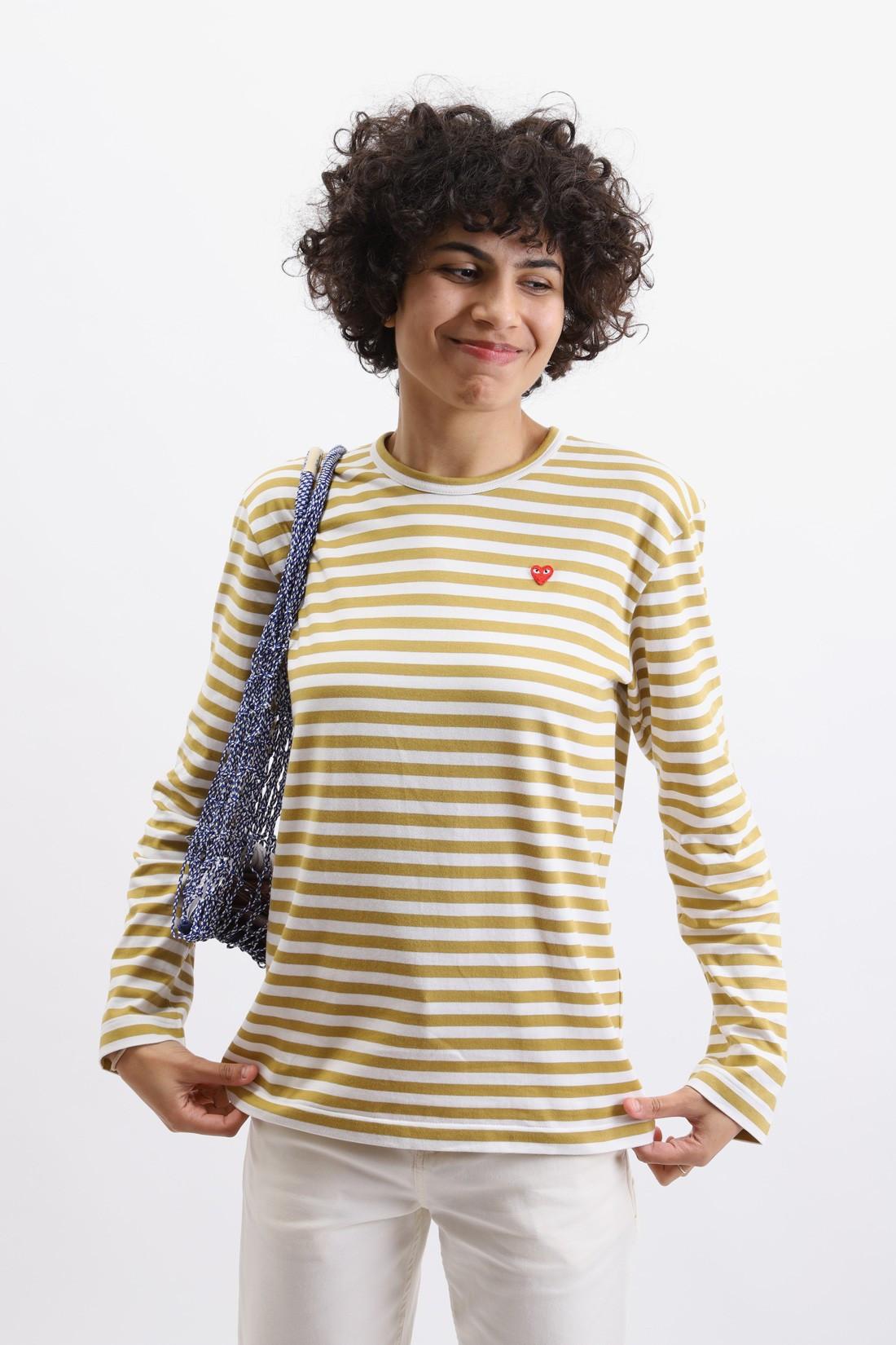COMME DES GARÇONS PLAY / Play striped t-shirt Olive