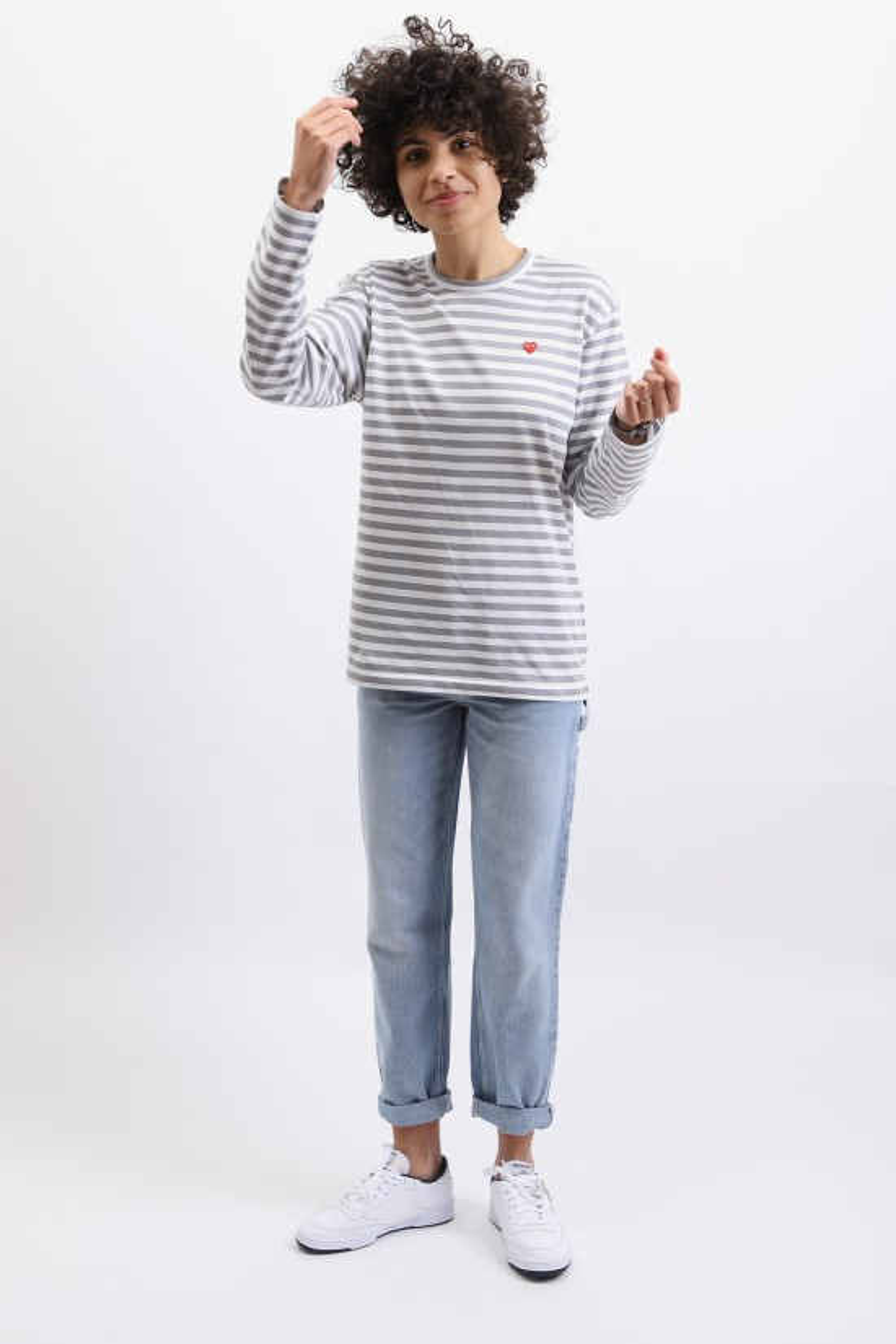 COMME DES GARÇONS PLAY / Play striped t-shirt Grey