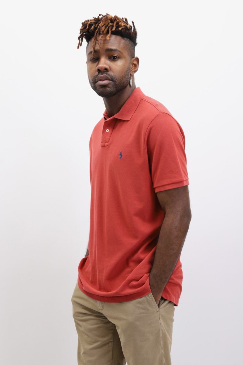 Custom fit classic polo washed Brique