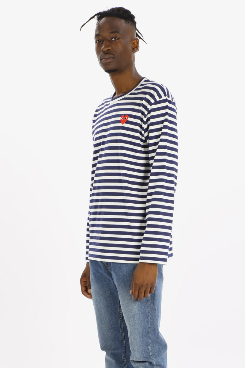 Play striped t-shirt red heart Navy white