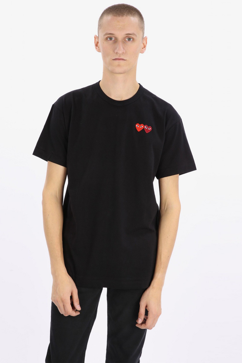Play double heart t-shirt Black