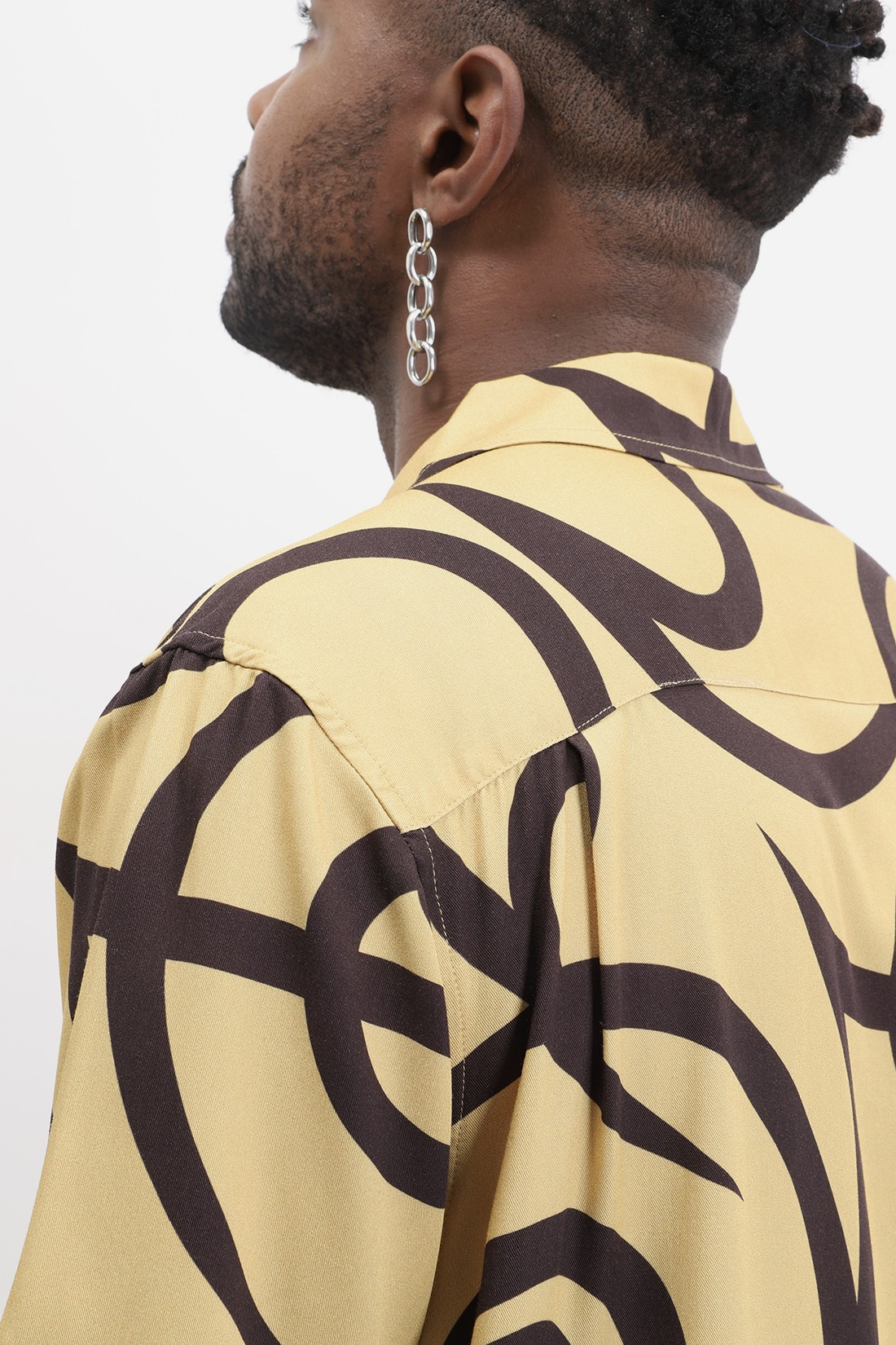 STUSSY / Tribal pattern shirt Mustard