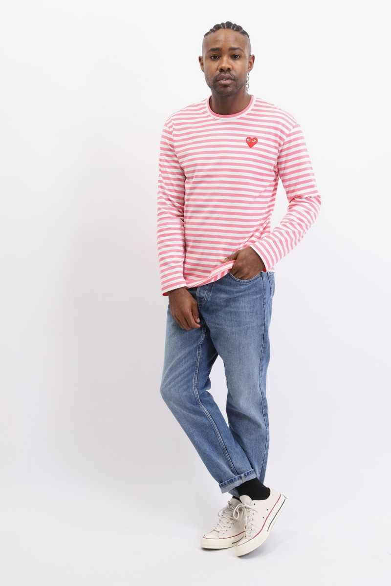Play striped t-shirt Pink white