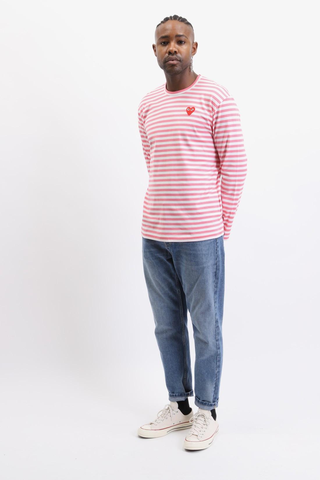 COMME DES GARÇONS PLAY / Play striped t-shirt Pink white