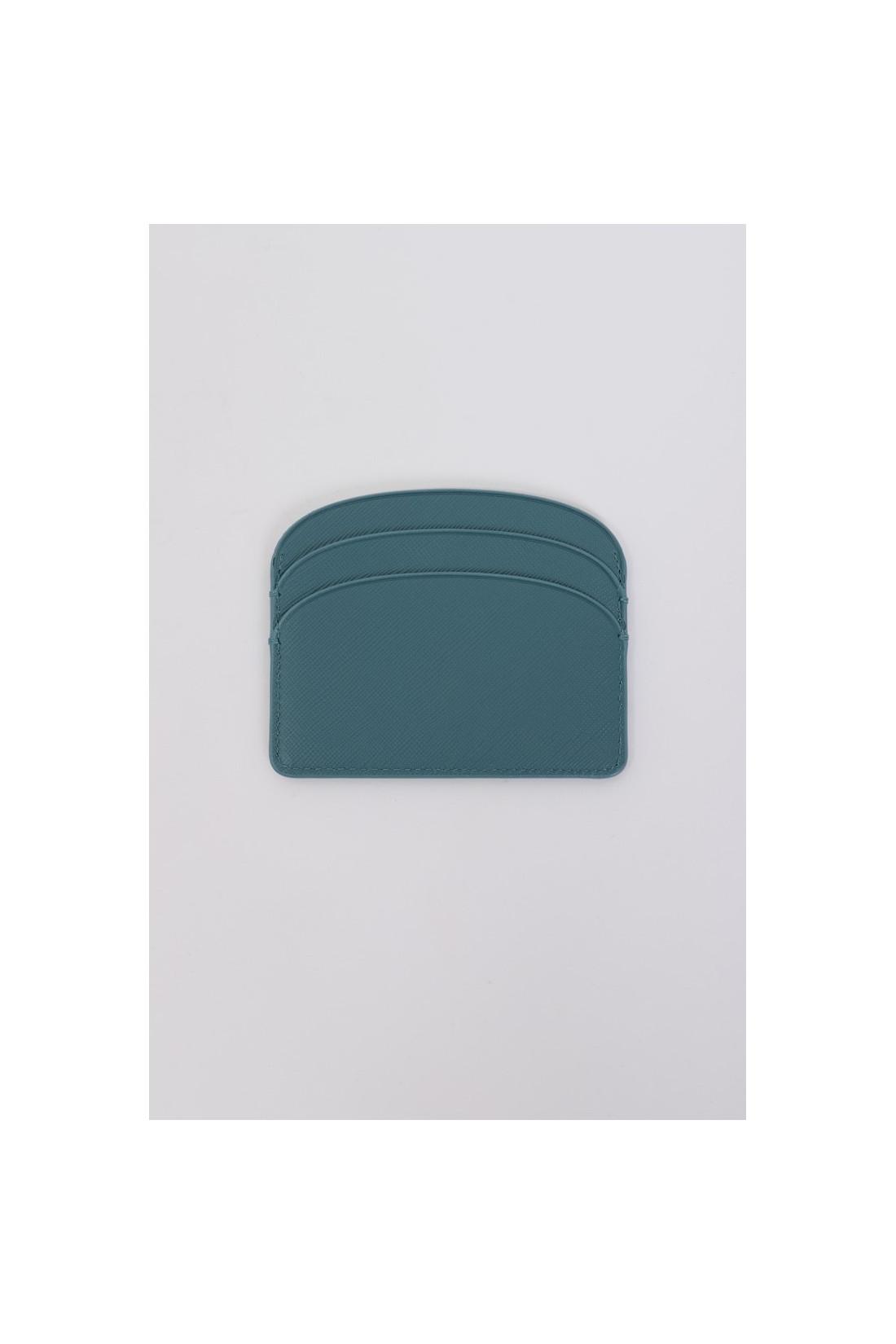 A.P.C. FOR WOMAN / Porte-cartes demi-lune Bleu canard