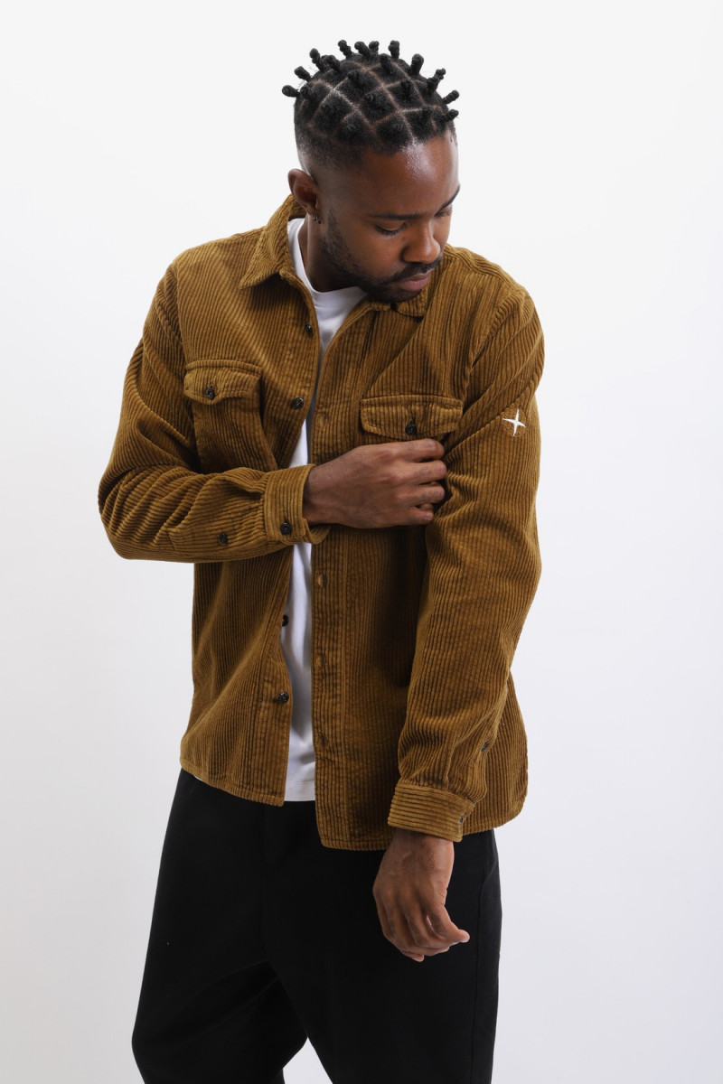 12111 corduroy shirt v0071 Tabacco