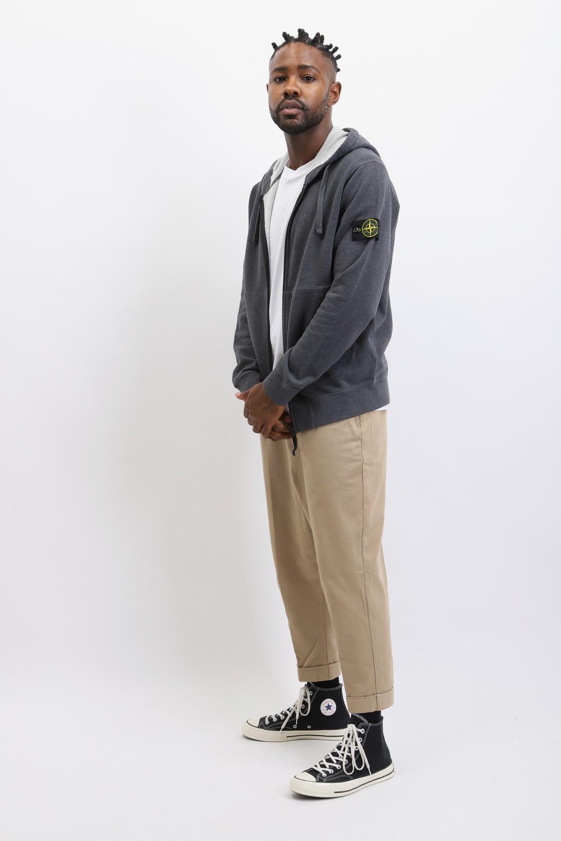 STONE ISLAND / 64220 hooded zip sweater v0m67 Fumo melange