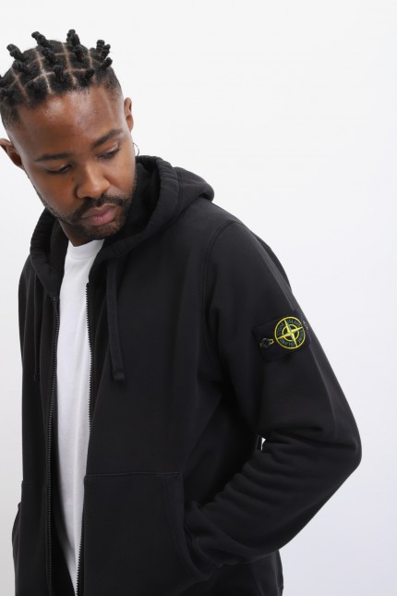 64220 hooded zip sweater v0029 Nero