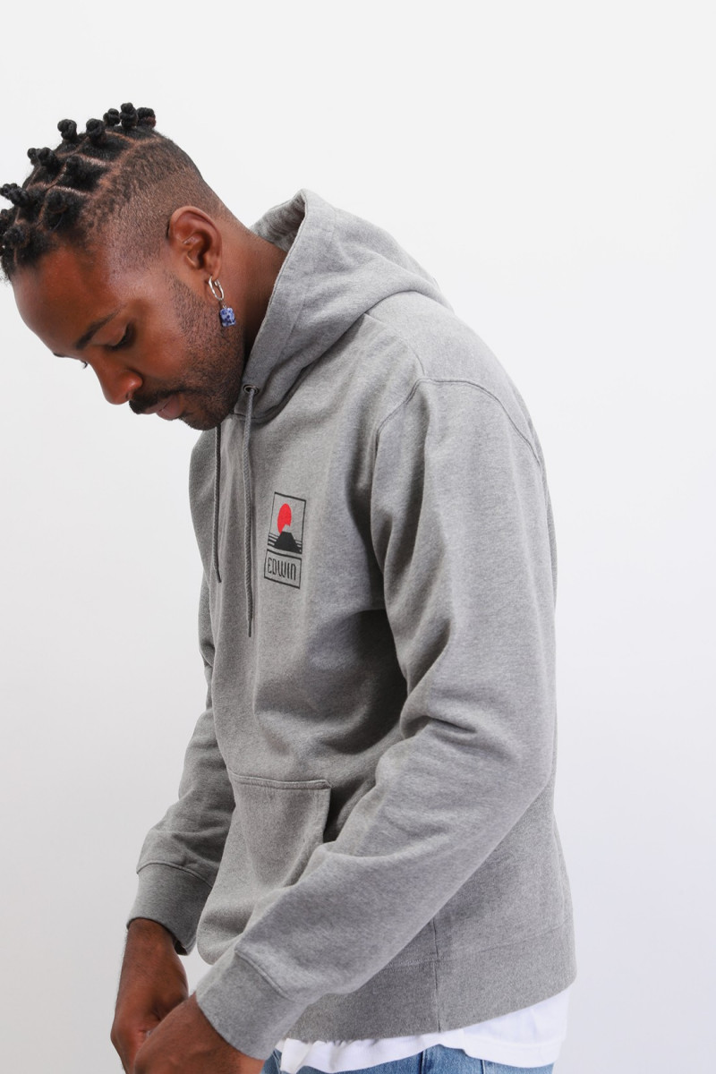 Sunset on mt fuji hoodie sweat Grey marl