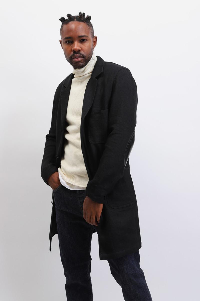 Wf-c401-w20 wool linen coat Black