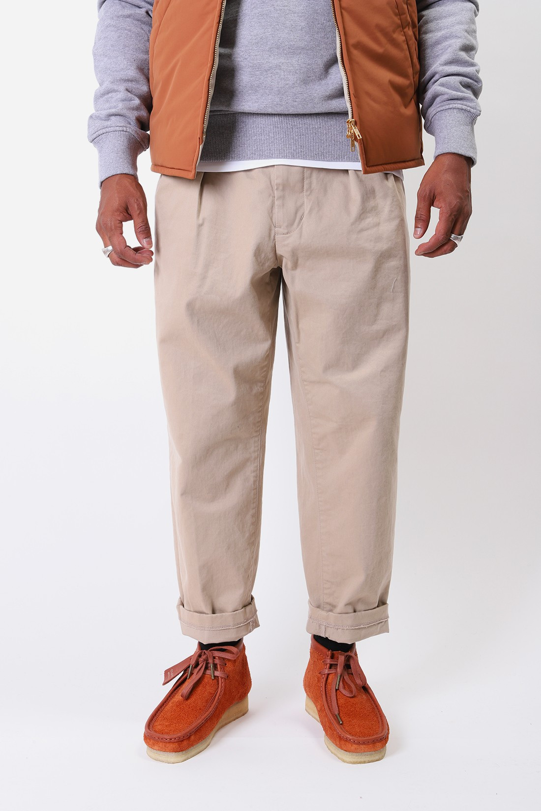 BEAMS PLUS / 2pleats twill pant Khaki