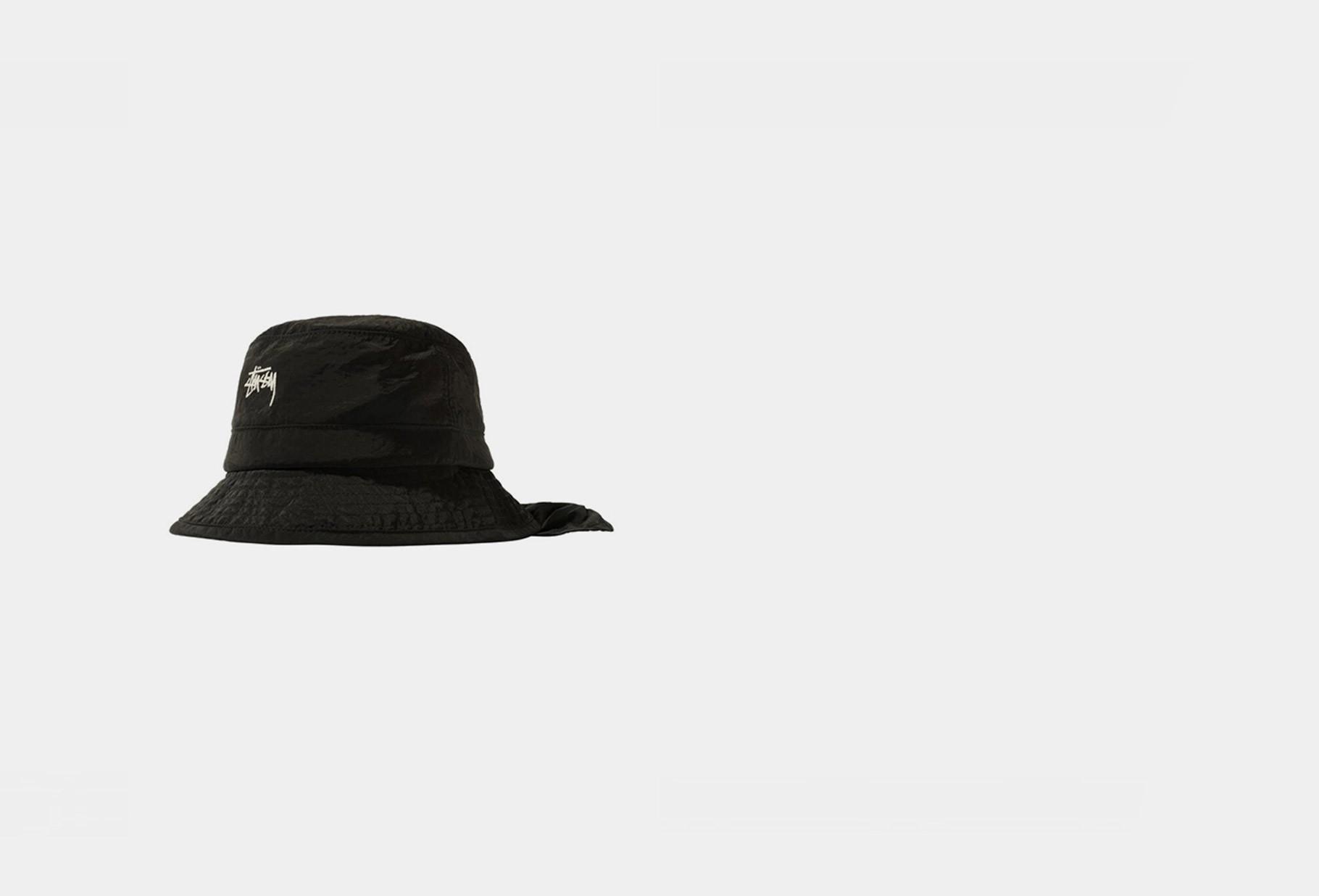 STUSSY / Metallic nylon bungee bucket Black
