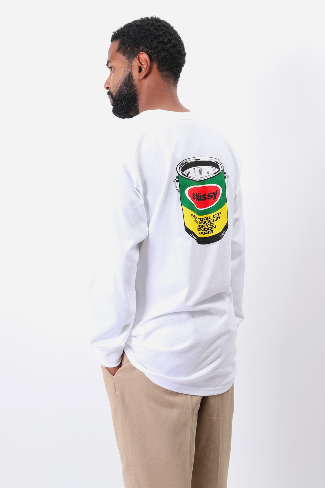 STUSSY / Paint can ls tee White