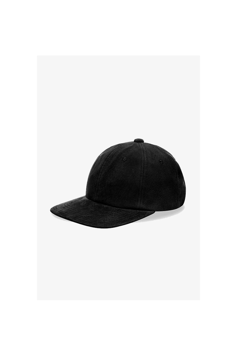6 panel cap suede Black