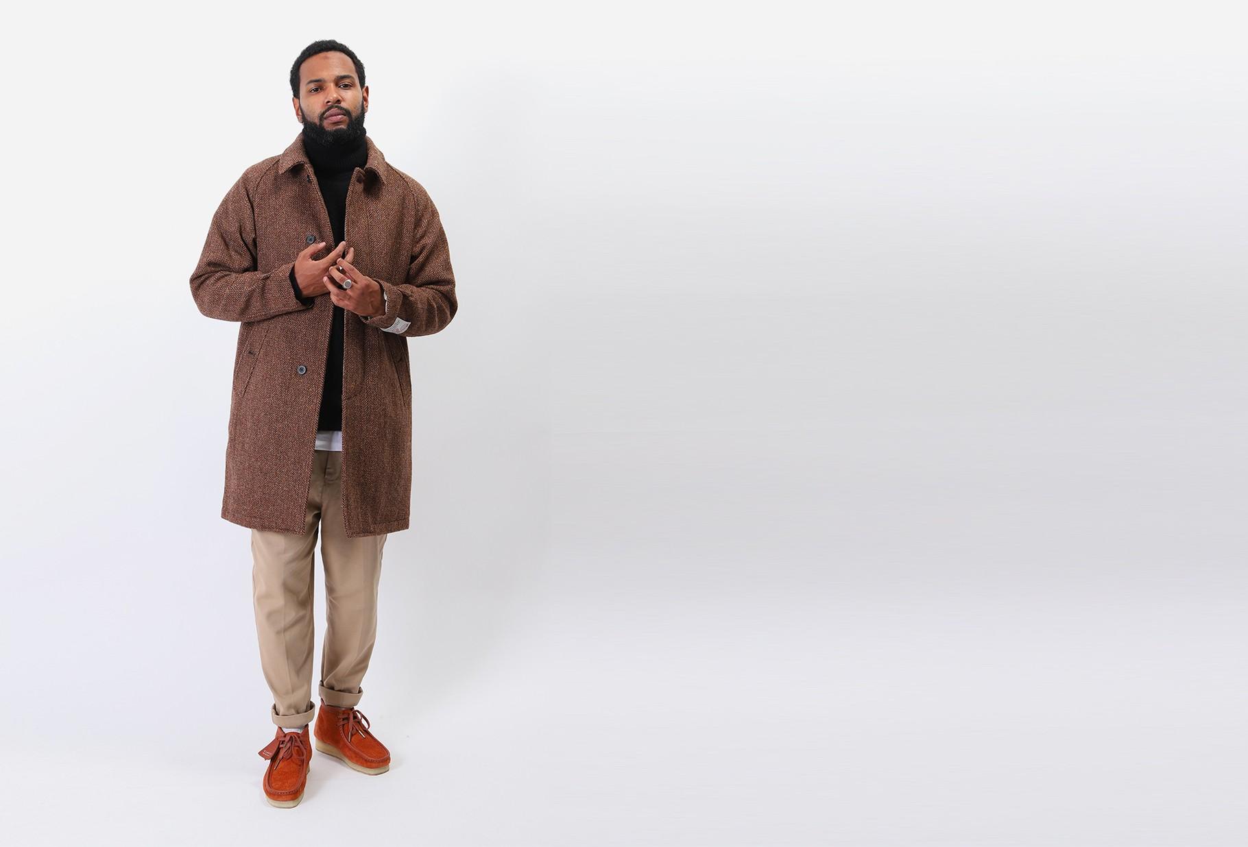 BEAMS PLUS / Balmacaan coat harris tweed 26 lt brown