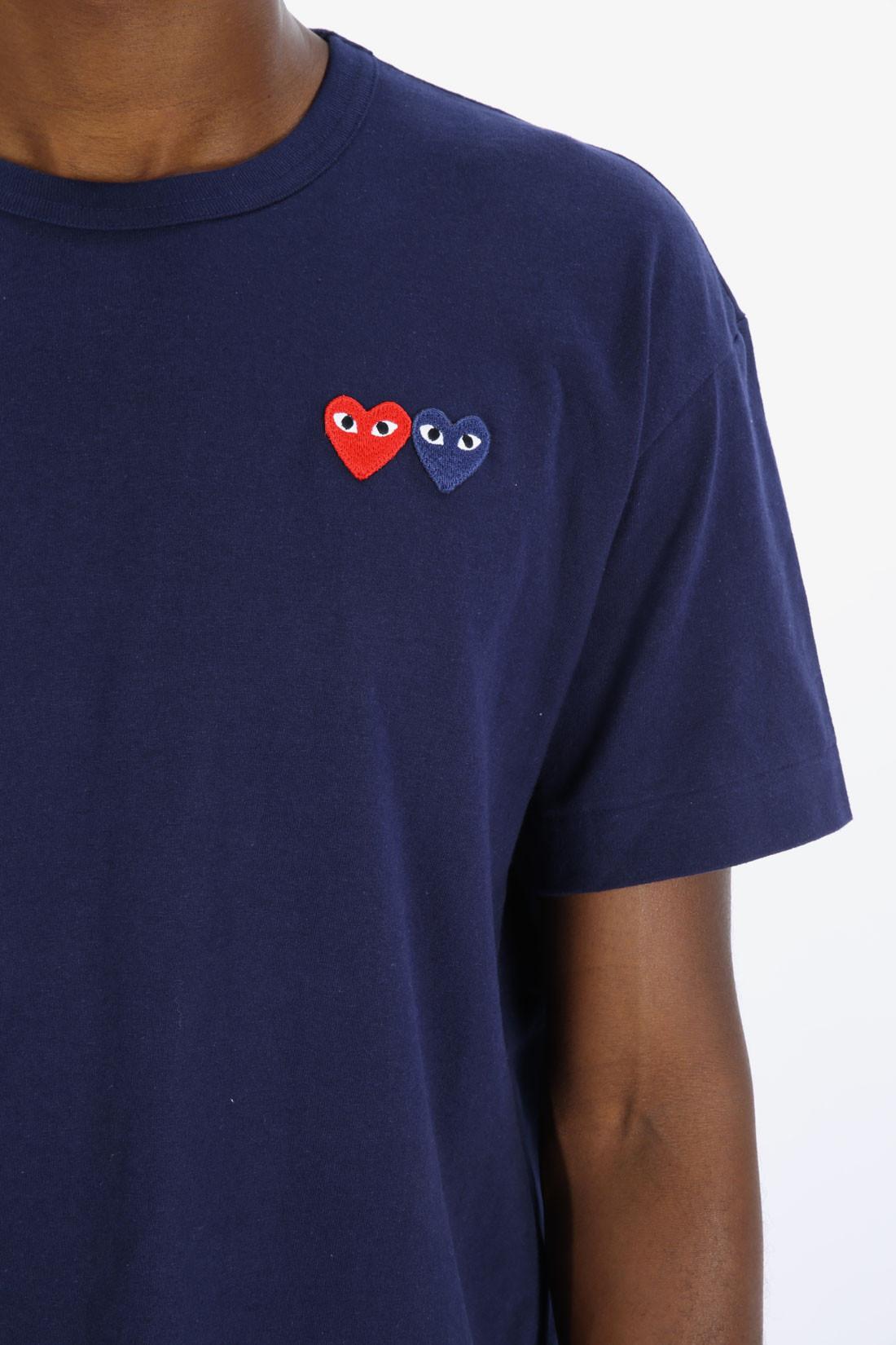 COMME DES GARÇONS PLAY / Play double heart t-shirt Navy
