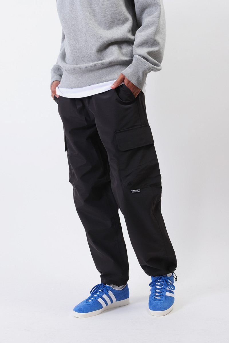 Solid taped seam cargo pant Black