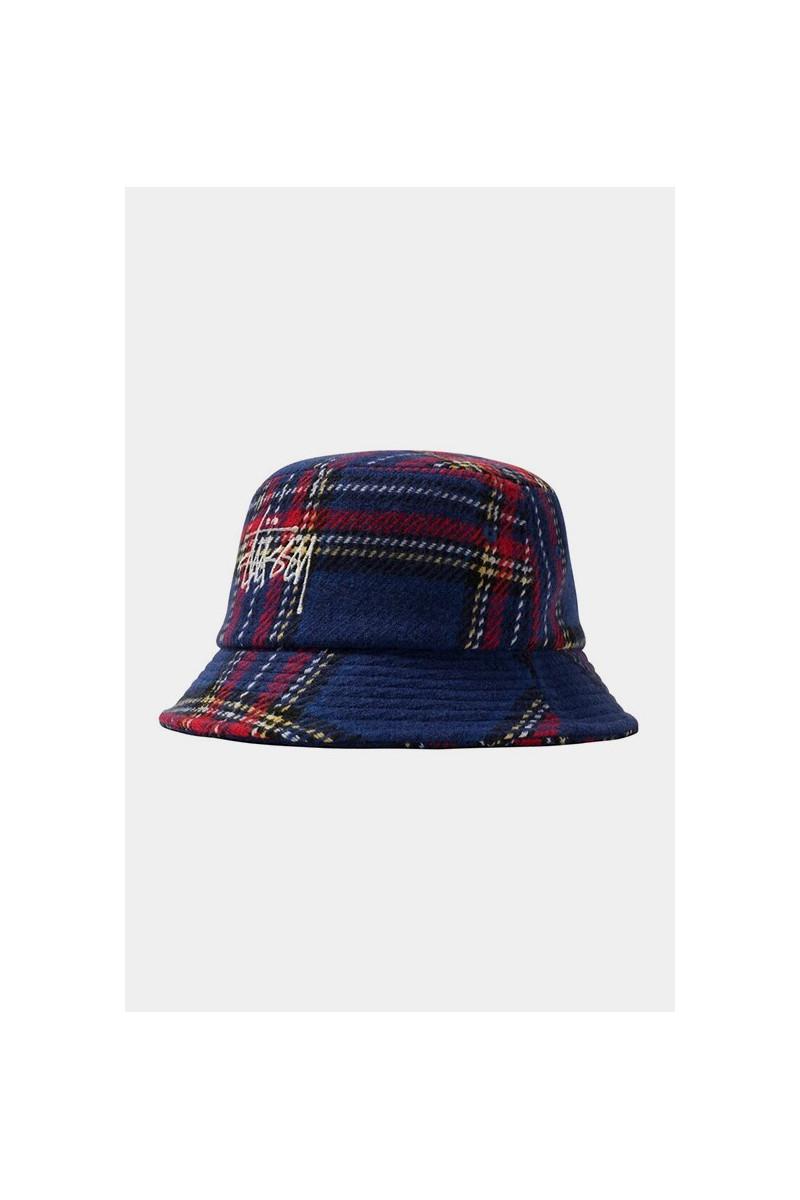 Big logo plaid bucket hat Blue