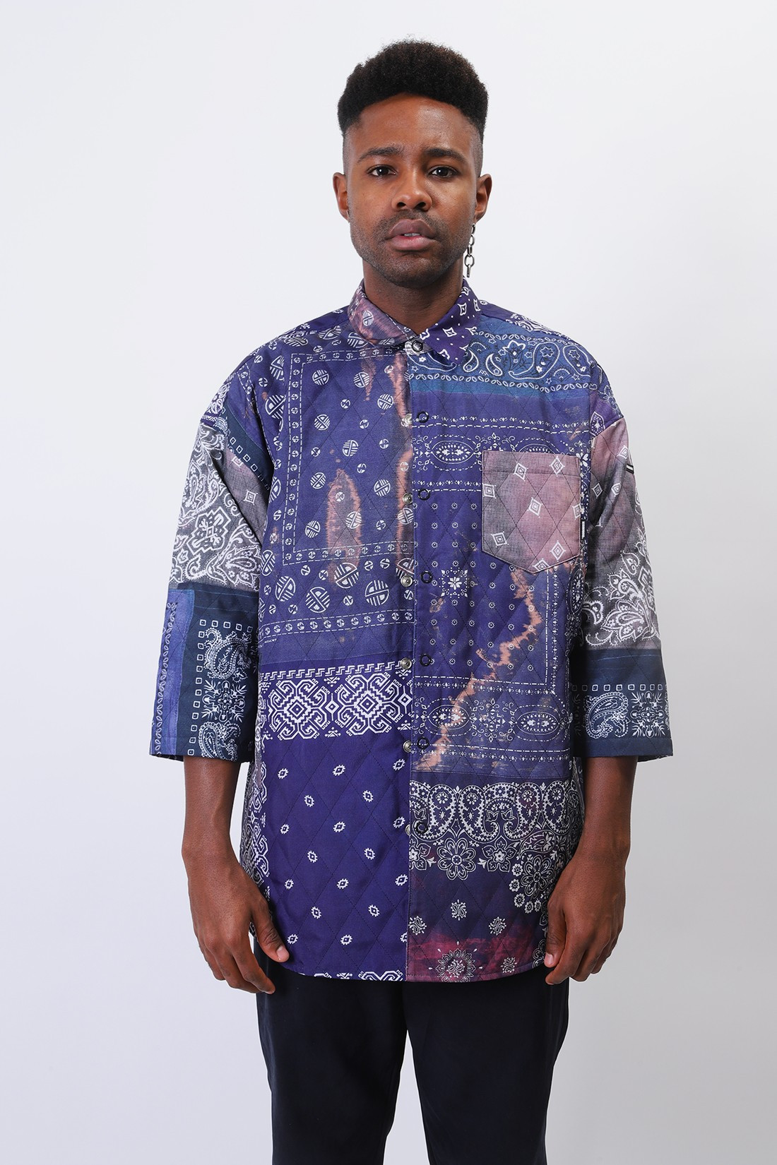 NEIGHBORHOOD / Quilt-b / e-shirt . 3q Navy