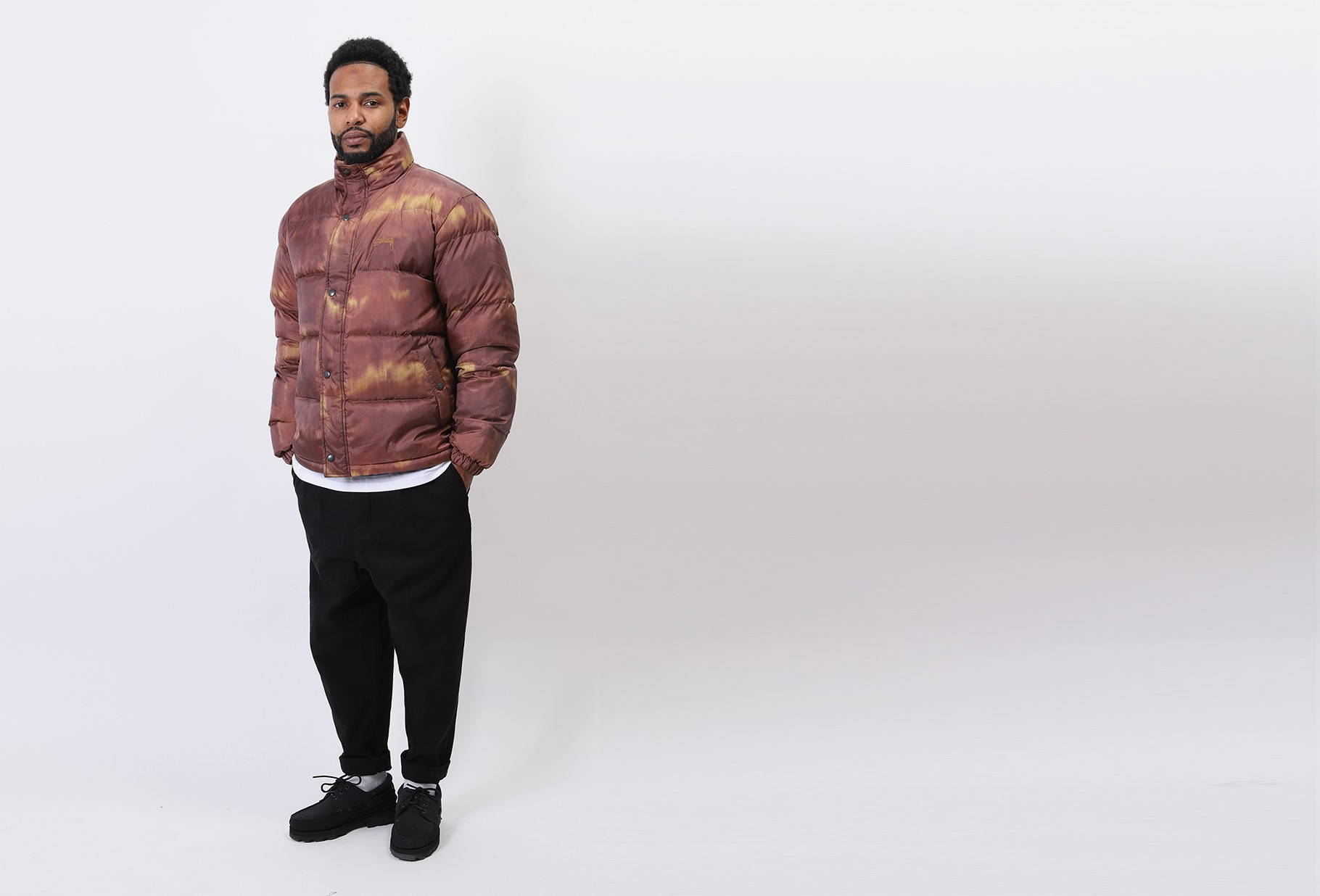 STUSSY / Aurora puffer jacket Brown