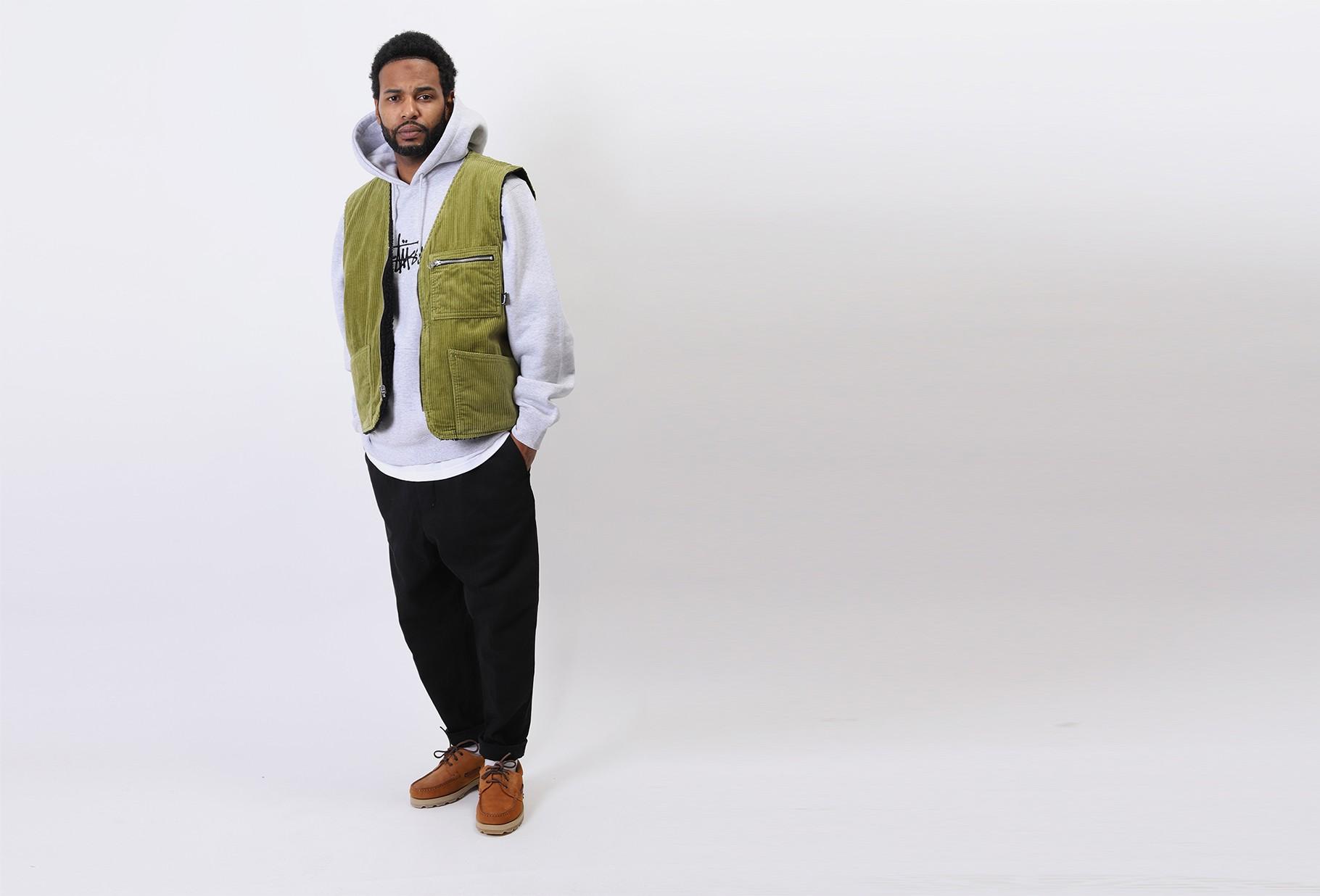 STUSSY / Wide wale reversible vest Green