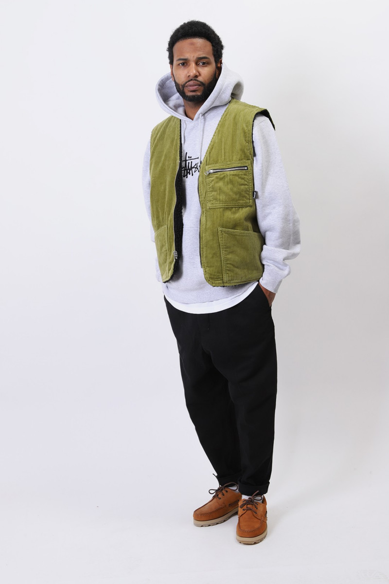 Wide wale reversible vest Green