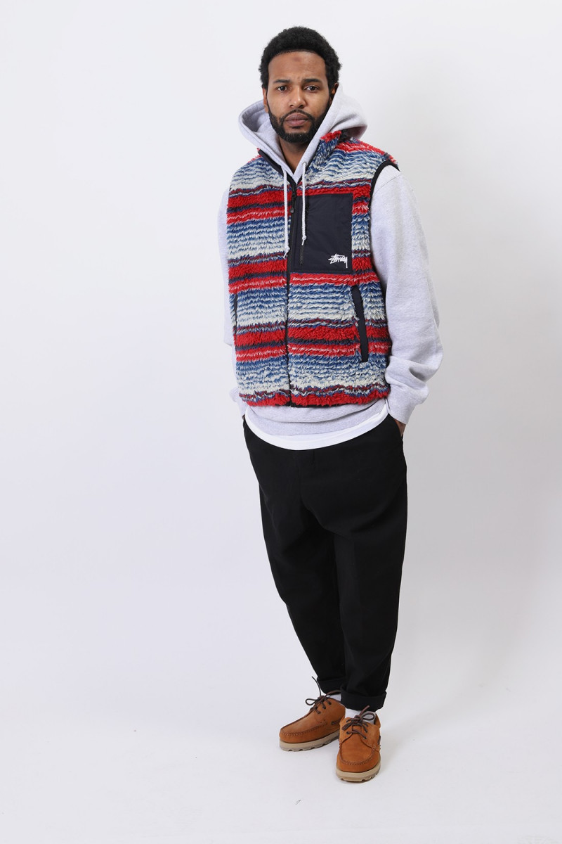 Striped sherpa vest Multi
