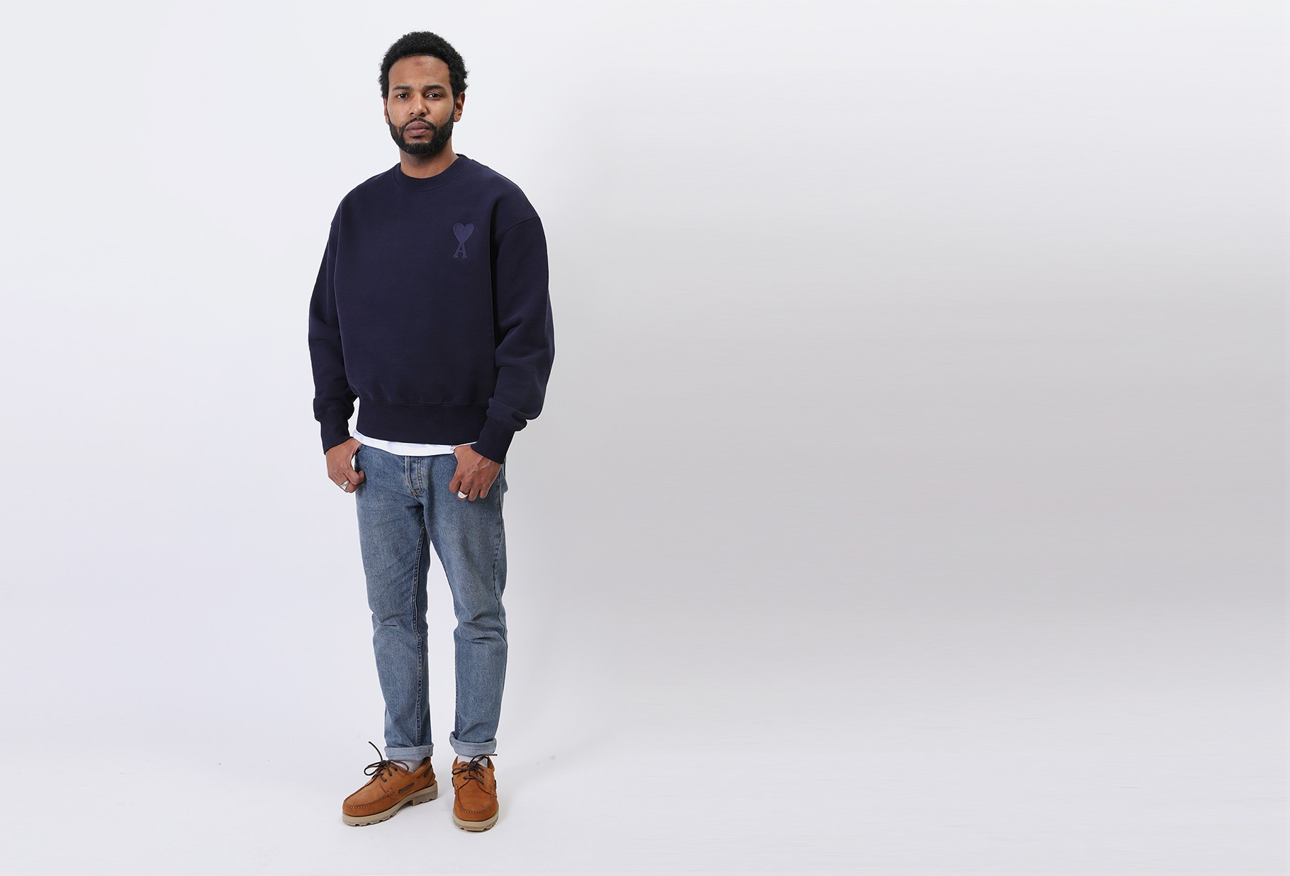 AMI / Sweatshirt ami de coeur Marine
