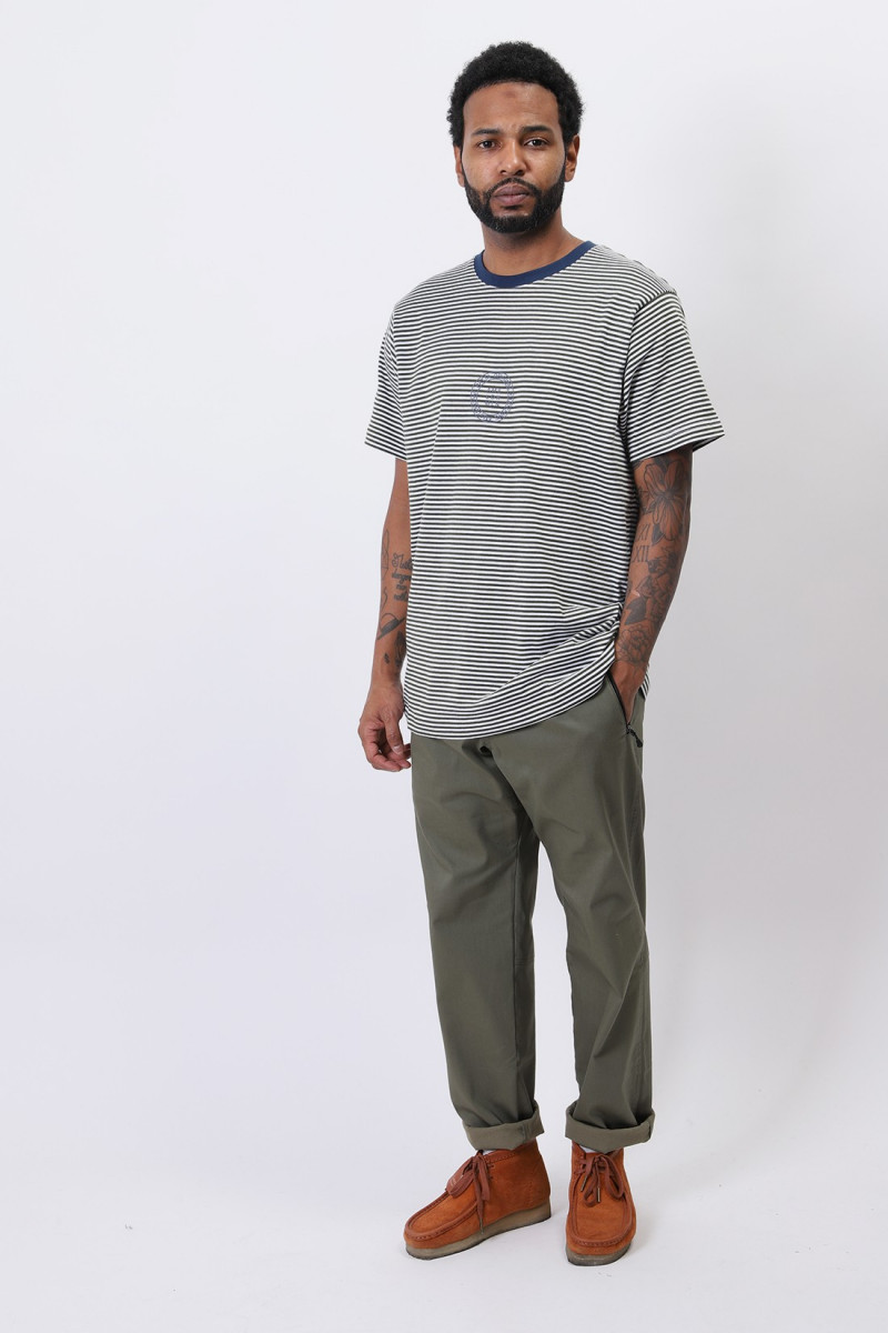 City knitted stripe tshirt White rifle green